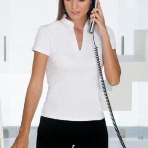 9fdbfde3254 Ladies V-neck Mandarin collar top…